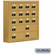 "Cell Phone Storage Locker, Surface Mounted, 5 Door High, 5""D, Combo Locks, 12A & 4B Doors,Gold"