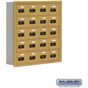 "Cell Phone Storage Locker, Recessed Mounted, 5 Door High, 5""D, Combo Locks, 20 A Doors, Gold"