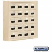 "Cell Phone Storage Locker, Surface Mounted, 5 Door High, 5""D, Combo Locks, 20 A Doors, Sandstone"