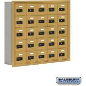 "Cell Phone Storage Locker, Recessed Mounted, 5 Door High, 5""D, Combo Locks, 25 A Doors, Gold"