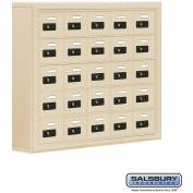 "Cell Phone Storage Locker, Surface Mounted, 5 Door High, 5""D, Combo Locks, 25 A Doors, Sandstone"