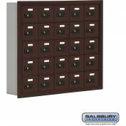 "Cell Phone Storage Locker, Recessed Mounted, 5 Door High, 5""D, Combo Locks, 25 A Doors, Bronze"