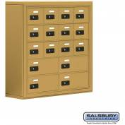 "Cell Phone Storage Locker, Surface Mounted, 5 Door High, 8""D, Combo Locks, 12A & 4B Doors,Gold"