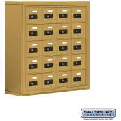 "Cell Phone Storage Locker, Surface Mounted, 5 Door High, 8""D, Combo Locks, 20 A Doors, Gold"
