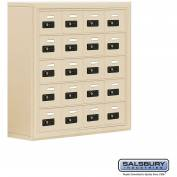 "Cell Phone Storage Locker, Surface Mounted, 5 Door High, 8""D, Combo Locks, 20 A Doors, Sandstone"