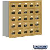 "Cell Phone Storage Locker, Recessed Mounted, 5 Door High, 8""D, Combo Locks, 25 A Doors, Gold"