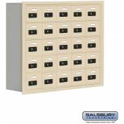 "Cell Phone Storage Locker, Recessed Mounted, 5 Door High, 8""D, Combo Locks, 25 A Doors, Sandstone"