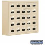"Cell Phone Storage Locker, Surface Mounted, 5 Door High, 8""D, Combo Locks, 25 A Doors, Sandstone"