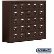 "Cell Phone Storage Locker, Surface Mounted, 5 Door High, 8""D, Combo Locks, 25 A Doors, Bronze"