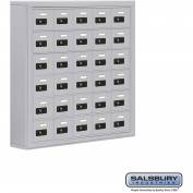 "Cell Phone Storage Locker, Surface Mounted, 6 Door High, 5""D, Combo Locks, 30 A Doors, Aluminum"