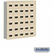 "Cell Phone Storage Locker, Recessed Mounted, 6 Door High, 5""D, Combo Locks, 30 A Doors, Sandstone"