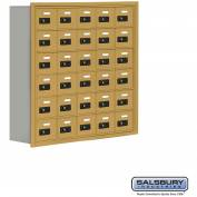 "Cell Phone Storage Locker, Recessed Mounted, 6 Door High, 8""D, Combo Locks, 30 A Doors, Gold"