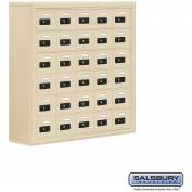 "Cell Phone Storage Locker, Surface Mounted, 6 Door High, 8""D, Combo Locks, 30 A Doors, Sandstone"