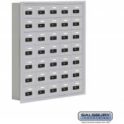"Cell Phone Storage Locker, Recessed Mounted, 7 Door High, 5""D, Combo Locks, 35 A Doors, Aluminum"