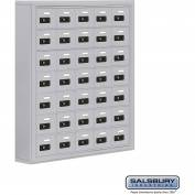 "Cell Phone Storage Locker, Surface Mounted, 7 Door High, 5""D, Combo Locks, 35 A Doors, Aluminum"