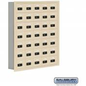"Cell Phone Storage Locker, Recessed Mounted, 7 Door High, 5""D, Combo Locks, 35 A Doors, Sandstone"