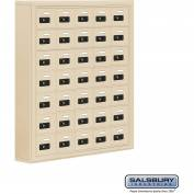 "Cell Phone Storage Locker, Surface Mounted, 7 Door High, 5""D, Combo Locks, 35 A Doors, Sandstone"