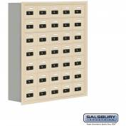 "Cell Phone Storage Locker, Recessed Mounted, 7 Door High, 8""D, Combo Locks, 35 A Doors, Sandstone"
