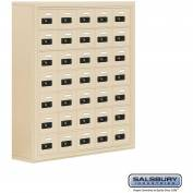 "Cell Phone Storage Locker, Surface Mounted, 7 Door High, 8""D, Combo Locks, 35 A Doors, Sandstone"