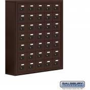 "Cell Phone Storage Locker, Surface Mounted, 7 Door High, 8""D, Combo Locks, 35 A Doors, Bronze"