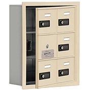 Cell Phone Locker with Access Panel 19135-06SRC - Recessed Mounted, Combo Locks 6 A Doors, Sandstone