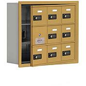 Cell Phone Locker with Access Panel 19135-09GRC - Recessed Mounted, Combo Locks, 9 A Doors, Gold