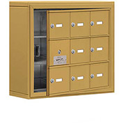 Cell Phone Locker with Access Panel 19135-09GSK - Surface Mounted, Keyed Locks, 9 A Doors, Gold