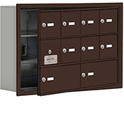 Cell Phone Locker with Access Panel 19135-10ZRK - Recessed Mounted Keyed Locks 8A & 2B Doors, Bronze
