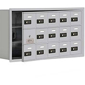 Cell Phone Locker with Access Panel 19135-15ARC - Recessed Mounted, Combo Locks 15 A Doors, Aluminum