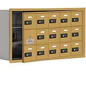 Cell Phone Locker with Access Panel 19135-15GRC - Recessed Mounted, Combo Locks, 15 A Doors, Gold