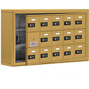 Cell Phone Locker with Access Panel 19135-15GSC - Surface Mounted, Combo Locks, 15 A Doors, Gold