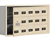 Cell Phone Locker with Access Panel 19135-15SRC - Recessed Mounted Combo Locks 15 A Doors, Sandstone
