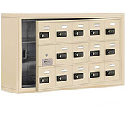 Cell Phone Locker with Access Panel 19135-15SSC - Surface Mounted, Combo Locks 15 A Doors, Sandstone
