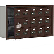Cell Phone Locker with Access Panel 19135-15ZRC - Recessed Mounted, Combo Locks, 15 A Doors, Bronze
