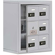Cell Phone Locker with Access Panel 19138-06ASC - Surface Mounted, Combo Locks, 6 A Doors, Aluminum