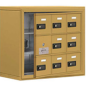 Cell Phone Locker with Access Panel 19138-09GSC - Surface Mounted, Combo Locks, 9 A Doors, Gold