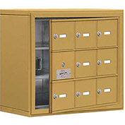 Cell Phone Locker with Access Panel 19138-09GSK - Surface Mounted, Keyed Locks, 9 A Doors, Gold