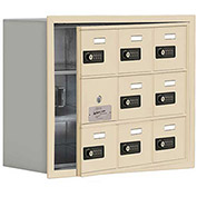 Cell Phone Locker with Access Panel 19138-09SRC - Recessed Mounted, Combo Locks 9 A Doors, Sandstone