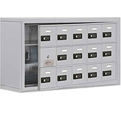 Cell Phone Locker with Access Panel 19138-15ASC - Surface Mounted, Combo Locks, 15 A Doors, Aluminum