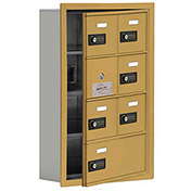 Cell Phone Locker with Access Panel 19145-07GRC - Recessed Mounted, Combo Locks, 6A & 1B Doors, Gold
