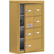 Cell Phone Locker with Access Panel 19145-07GSK - Surface Mounted, Keyed Locks, 6A & 1B Doors, Gold
