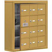 Cell Phone Locker with Access Panel 19145-12GSK - Surface Mounted, Keyed Locks, 12 A Doors, Gold