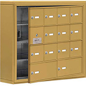 Cell Phone Locker with Access Panel 19145-14GSK - Surface Mounted, Keyed Locks, 12A & 2B Doors, Gold