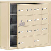 Cell Phone Locker with Access Panel 19145-14SSK - Surface Mounted Keyed Locks 12A&2B Doors Sandstone