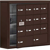 Cell Phone Locker with Access Panel 19145-14ZSK - Surface Mounted Keyed Locks 12A & 2B Doors, Bronze