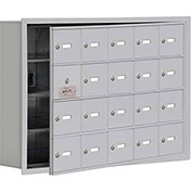 Cell Phone Locker with Access Panel 19145-20ARK - Recessed Mounted Keyed Locks, 20 A Doors, Aluminum