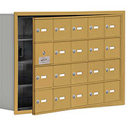 Cell Phone Locker with Access Panel 19145-20GRK - Recessed Mounted, Keyed Locks, 20 A Doors, Gold