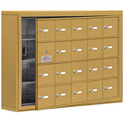 Cell Phone Locker with Access Panel 19145-20GSK - Surface Mounted, Keyed Locks, 20 A Doors, Gold