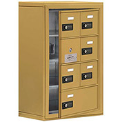 Cell Phone Locker with Access Panel 19148-07GSC - Surface Mounted, Combo Locks, 6A & 1B Doors, Gold