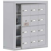 Cell Phone Locker with Access Panel 19148-12ASK - Surface Mounted, Keyed Locks, 12 A Doors, Aluminum